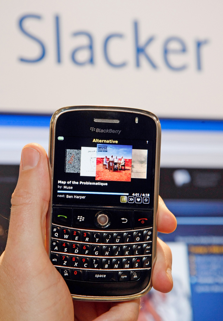A Blackberry Bold with the new Slacker personalized radio application is displayed at the 2009 International Consumer Electronics Show at the Las Vegas Convention Center January 8, 2009 in Las Vegas, Nevada.