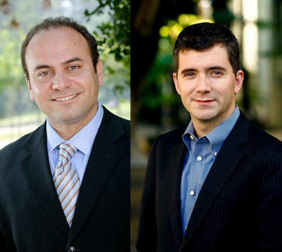 Adrin Nazarian, left, will likely face Brian Johnson, right, in the runoff for state Assembly.