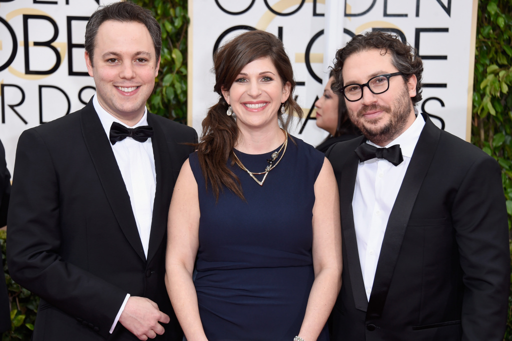 (L-R) Producers Ido Ostrowsky, Nora Grossman and Teddy Schwarzman attend the 72nd Annual Golden Globe Awards at The Beverly Hilton Hotel on January 11, 2015 in Beverly Hills, California.