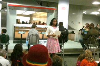 "Azania Dungee in a performance of ""Join the Student Sit-Ins"" at the Smithsonian National Museum of American History."
