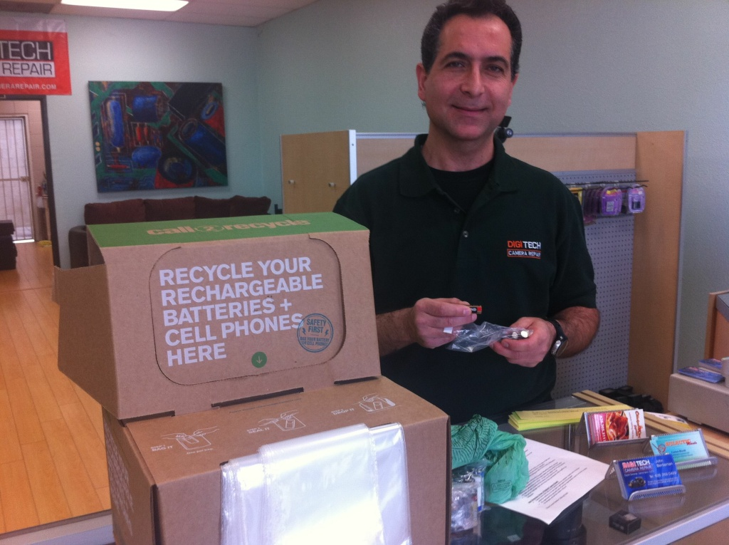 Call2Recycle is a nonprofit company backed by the rechargeable battery industry that places boxes in stores to collect batteries, then picks up the cost of shipping the boxes to a recycling facility.