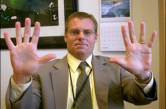 Dr. Paul Silka, chief of staff at Cedars-Sinai, showing that he washes his hands on a regular basis.