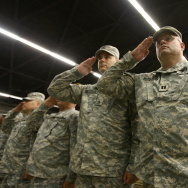 File: Soldiers attend their farewell ceremony for about 850 California National Guardsmen from the 1st Battalion, 185th Armor on Aug. 22, 2008 in San Bernardino.