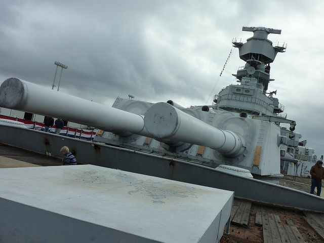 View of the USS Iowa's gun turrets
