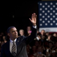 US President Barack Obama waves after sp