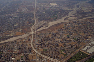 An arial photo of the Inland Empire in Southern California.