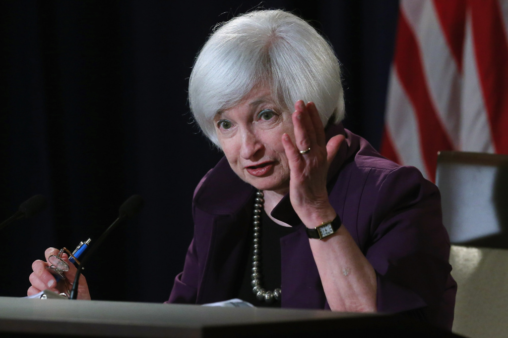 Federal Reserve Bank Chair Janet Yellen holds a news conference following a meeting of the Federal Open Market Committee at the Fed June 17, 2015 in Washington, DC