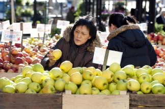 A woman picks through apples at an outdoor market in New York.