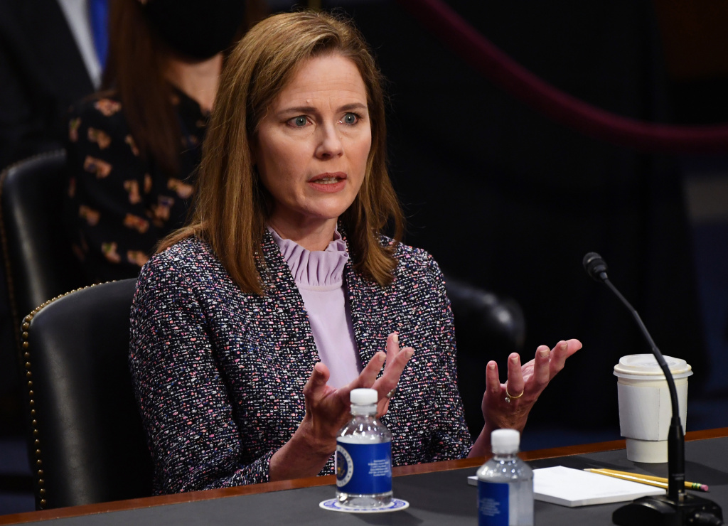 Supreme Court nominee Amy Coney Barrett appears before the Senate Judiciary Committee on day three of her confirmation hearings to become an Associate Justice of the U.S. Supreme Court on Capitol Hill.