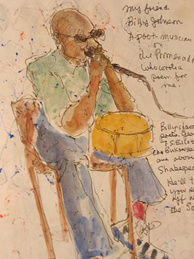 Dewey Ajioka's sketches of the homeless on the 3rd Street Promenade.