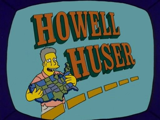 Howell Huser — an on-screen parody of Huell Howser — made his first appearance on the Simpsons in 2005. In 2009, the real life TV host appeared on the show, this time as himself.