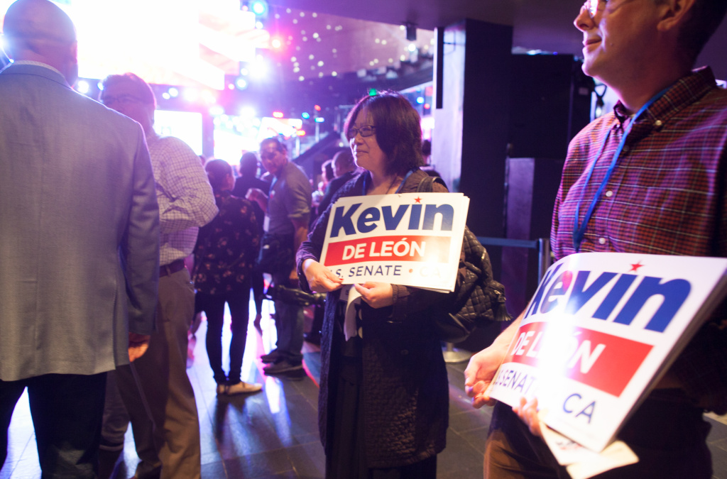 Supporters at Kevin de Léon's watch party at Exchange LA in Los Angeles, Calif. on Tuesday, June 5, 2018.