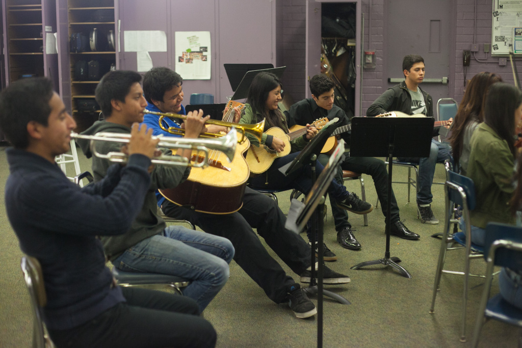 In this file photo, students warm up in a mariachi class at Hamilton High School.