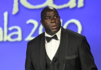 Magic Johnson honors Muhammed Ali at the 2010 Starkey Hearing Foundation 10th Annual 'So the World May Hear' Gala at Saint Paul RiverCentre on July 25, 2010 in Saint Paul, Minnesota.