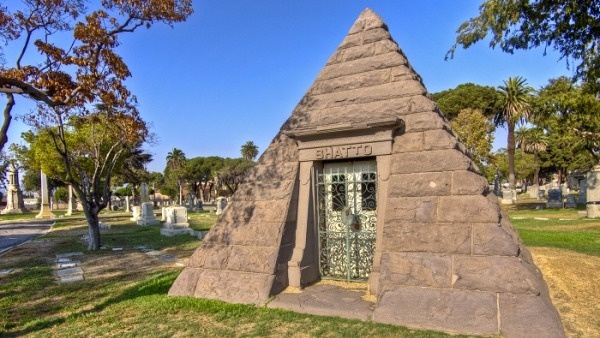 A mausoleum at the Angelus-Rosedale Cemetery