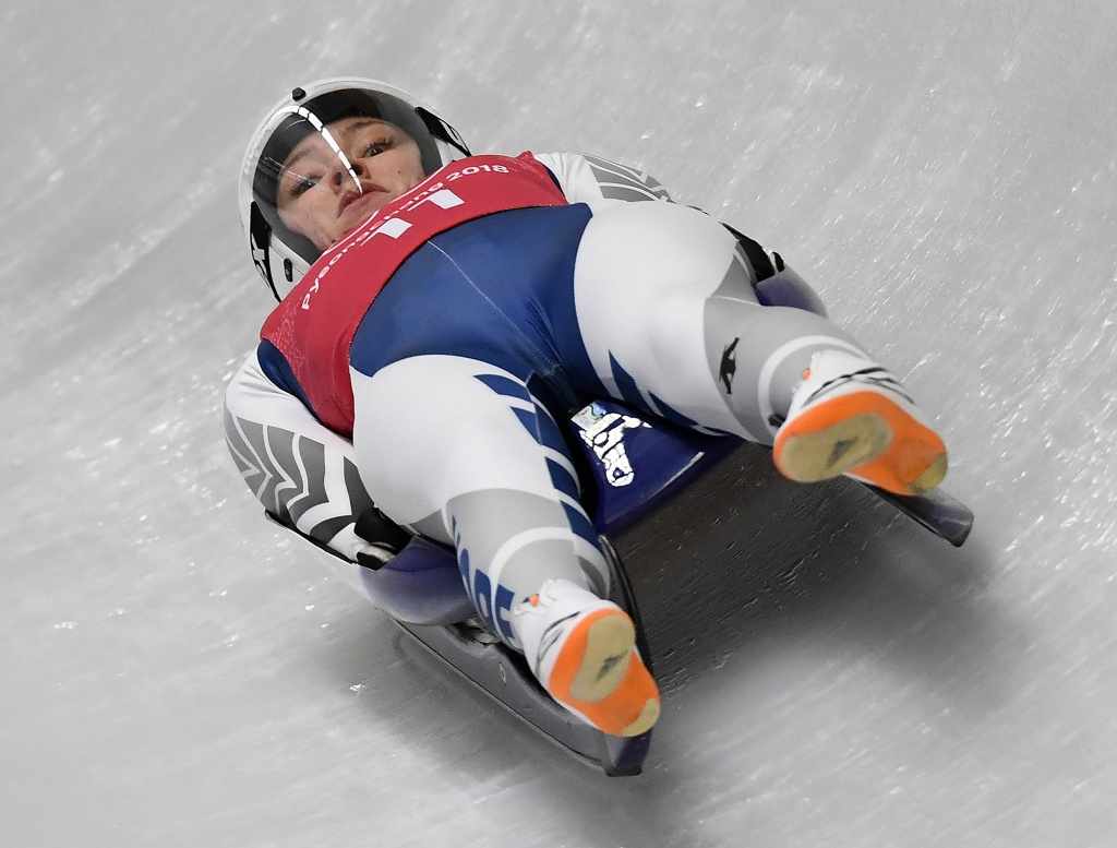 Aileen Christina Frisch of Korea takes a corner in the women's luge singles training session at the Olympic Sliding Centre during the Pyeongchang 2018 Winter Olympic Games on February 10, 2018.