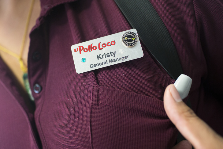 General Manager Kristy Ramirez helps a customer order at one of Michaela Mendelsohn's six El Pollo Loco franchises she owns in Southern California on Wednesday afternoon, July 14, 2016.