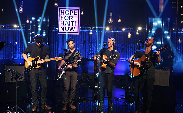 Coldplay performs for Hope For Haiti Now: A Global Benefit For Earthquake Relief