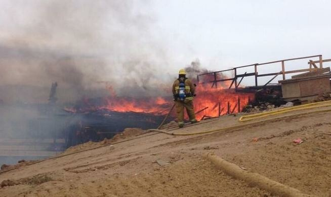 All directions of the 15 Freeway in Hesperia were shut down after 2 p.m. Monday due to fire.