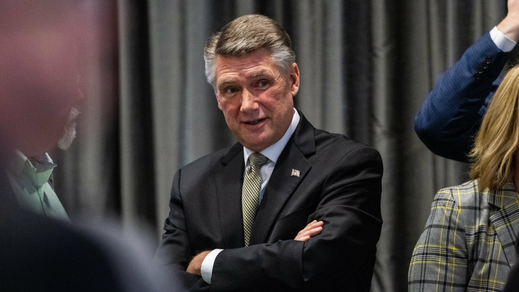 Mark Harris, Republican candidate in North Carolina's 9th Congressional race, talks during a recess in testimony during the second day of a North Carolina State Board of Elections hearing.