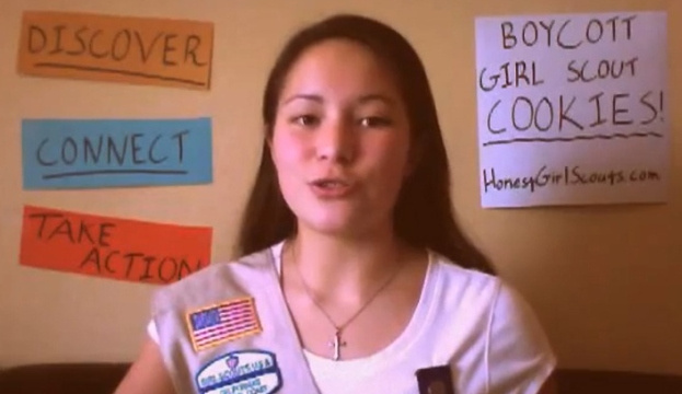 A screenshot of a recent video asking for the boycott of Girl Scout cookies because a Colorado Girl Scout troop chose to welcome a transgender child last fall.