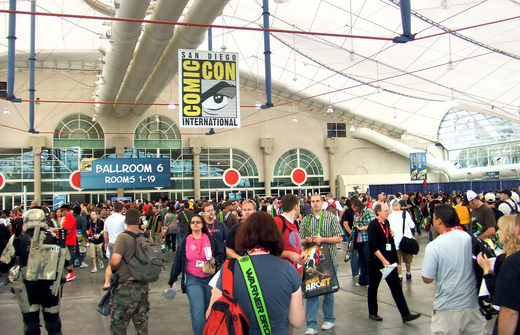 People entering the convention hall during Comic-Con 2010 in San Diego, CA.