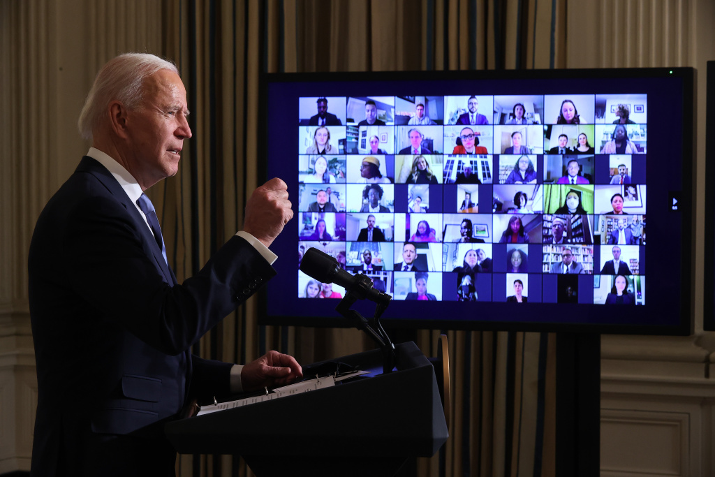 U.S. President Joe Biden conducts a virtual swearing in ceremony for members of his new administration via Zoom just hours after his inauguration in the State Dining Room at the White House January 20, 2021 in Washington, DC.