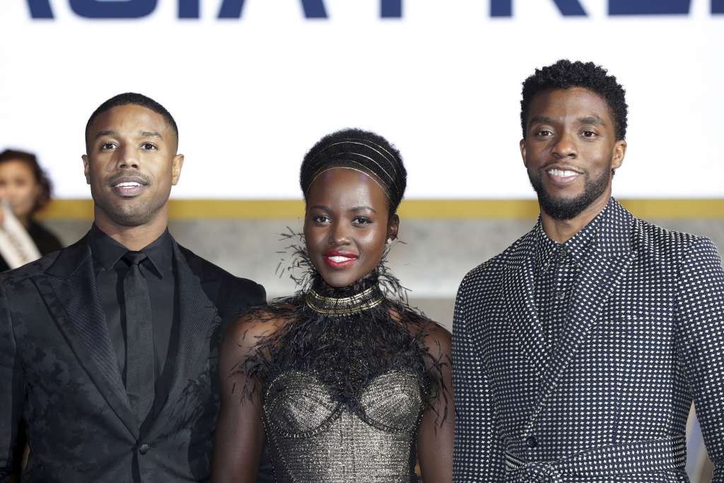 (L-R) Actors Michael B. Jordan, Lupita Nyong'o, and Chadwick Boseman arrive at the red carpet of the Seoul premiere of 'Black Panther' on February 5, 2018 in Seoul, South Korea.