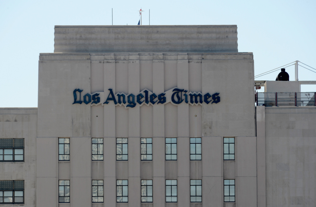The Los Angeles Times building is seen on June 7, 2012 in Los Angeles, California. Tribune owns the Los Angeles Times, KTLA-TV Channel 5, the Chicago Tribune and other media properties.