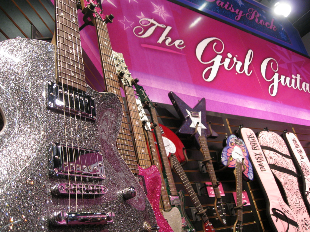 Van Nuys-based Daisy Rock Girl Guitars makes guitars specifically for females. It was a popular booth at the recent NAMM Show in Anaheim.