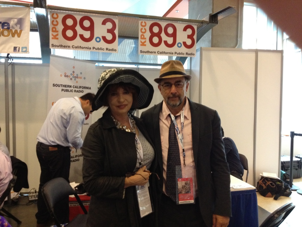 KPCC's Patt Morrison poses with actor Richard Schiff, who portrayed the character