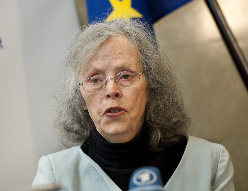 Right Livelihood prize winner Ina May Gaskin, founder and director of the Farm Midwifery Center, located near Summertown, Tennessee, US, speaks at a press conference in Stockholm on December 5, 2011, prior to receiving the prize for her life's work teaching and advocating safe, woman-centered childbirth methods.