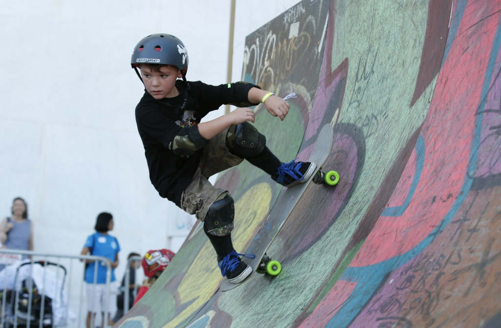 A boy skates during a skateboard festival on the Kennedy Center's Front Plaza on September 7, 2015.
