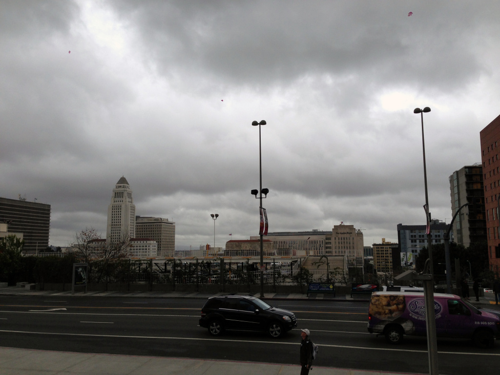 Downtown Los Angeles on an overcast day.