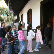 A group of children visit the Avila Adobe, the oldest existing house in Los Angeles, Calif. When the house built in the early 19th century, the state had a large population of Spanish descendants.