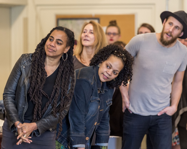 "Playwright Suzan-Lori Parks, left, with cast and crew members from ""Father Comes Home From The Wars (Parts 1, 2 & 3)."""