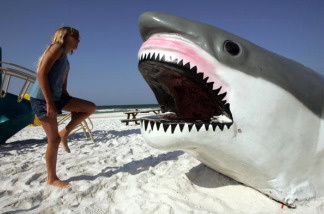 A girl looks at a plastic shark on a playground in Destin, Florida.