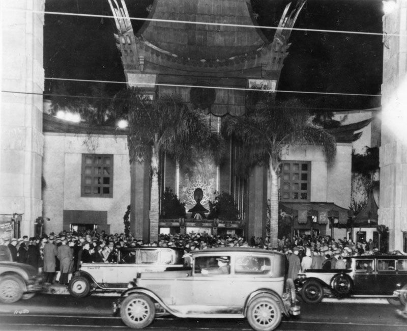 An exterior shot of Grauman's Chinese Theatre, circa 1928.