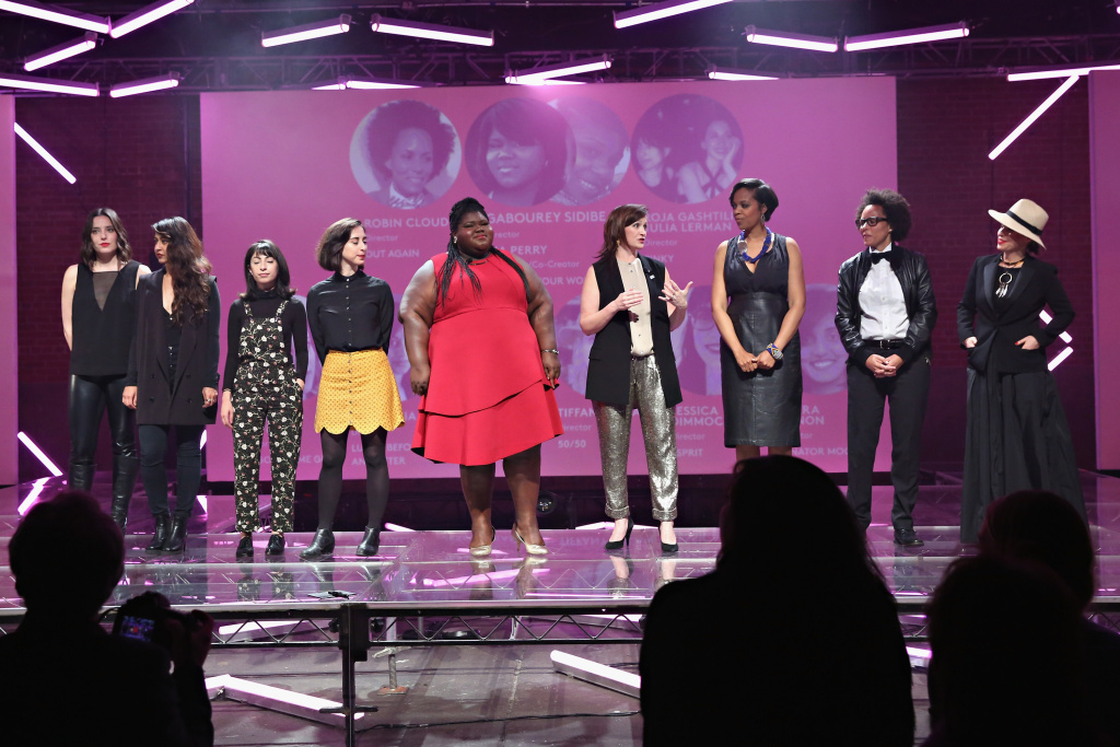 Jessica Dimmock, Anu Valia, Roja Gashtili, Julia Lerman, Gabourey Sidibe, Refinery29 Chief Content Officer Amy Emmerich, Kia Perry, Robin Cloud and Tiffany Shlain present Refinery29's power-focused video slate at NewFronts on May 02, 2016 in New York, New York.