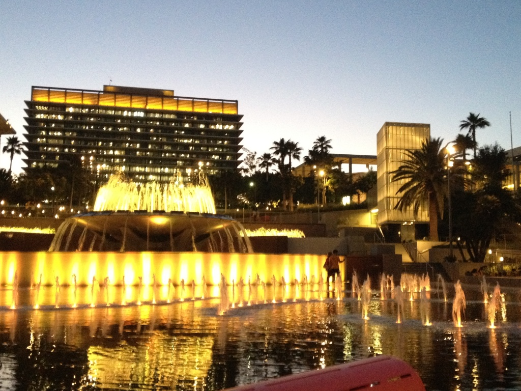 The magnificently colorful fountain at downtown L.A.'s Grand Park.
