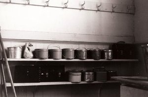 Lunch pails in a rural school, Wisconsin, 1939.