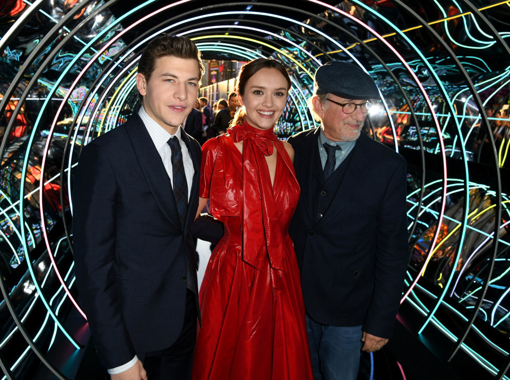 Tye Sheridan, Olivia Cooke and Steven Spielberg attend the Premiere of Warner Bros. Pictures'