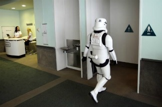A Star Wars storm trooper character takes a break during the annual Electronic Entertainment Expo.