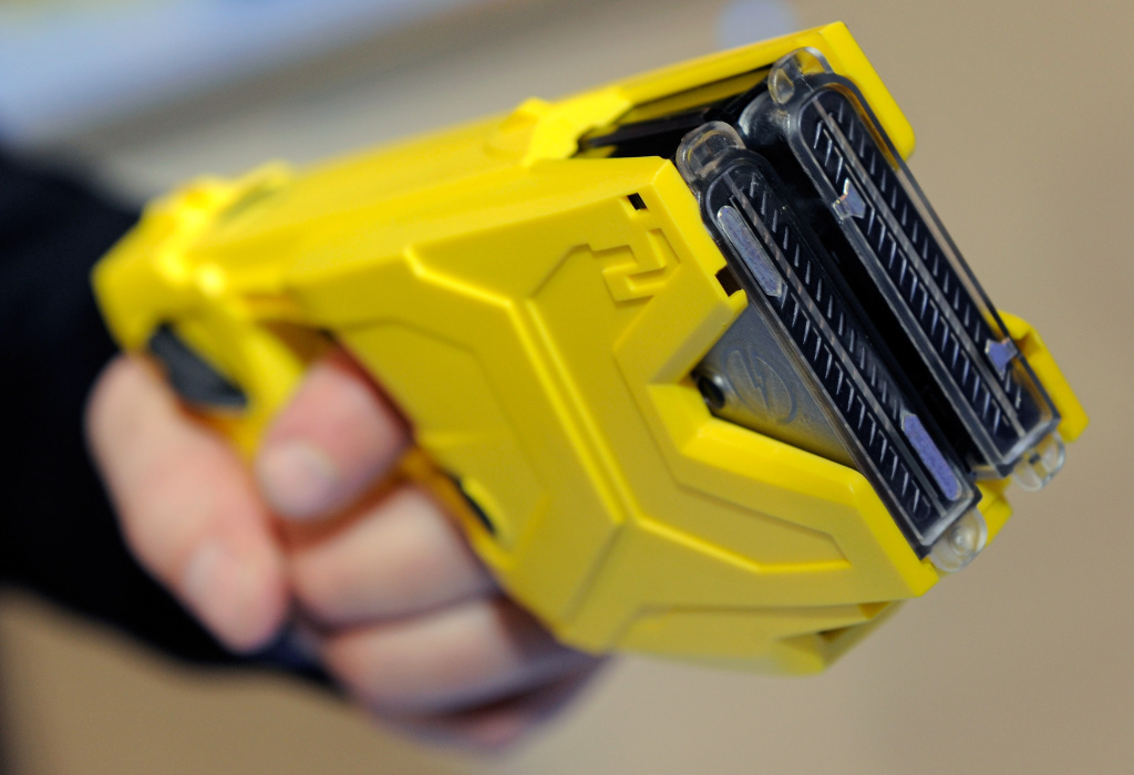 File: Taser International's X2 two-shot Taser for law enforcement is displayed at the National Shooting Sports Foundation's 34th annual Shooting, Hunting, Outdoor Trade Show at the Sands Expo and Convention Center in January 2012 in Las Vegas, Nevada.