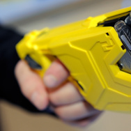Taser International's X2 two-shot Taser for law enforcement is displayed at a recent trade show in Las Vegas.