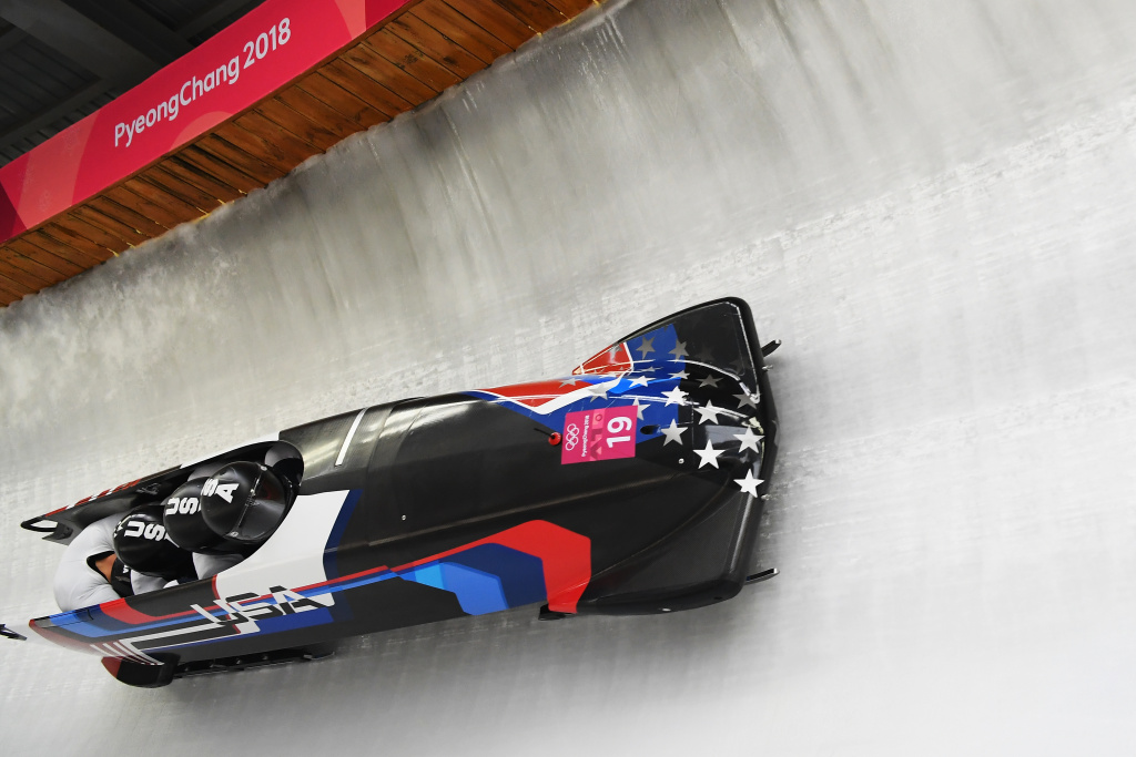 Justin Olsen, Nathan Weber, Carlo Valdes and Christopher Fogt of the United States compete during 4-man bobsled at the PyeongChang 2018 Winter Olympic Games on February 24, 2018 in Pyeongchang-gun, South Korea.