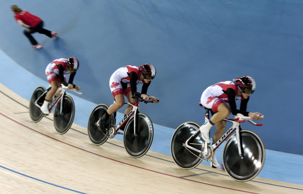 File: Canada's Tara Whitten, Gillian Carleton and Jasmin Glaeser compete during the Women's Team Pursuit qualification round at the UCI Track Cycling World Cup, a test event for the London 2012 Olympic Games, at the Velodrome in the Olympic Park in London on February 16, 2012.