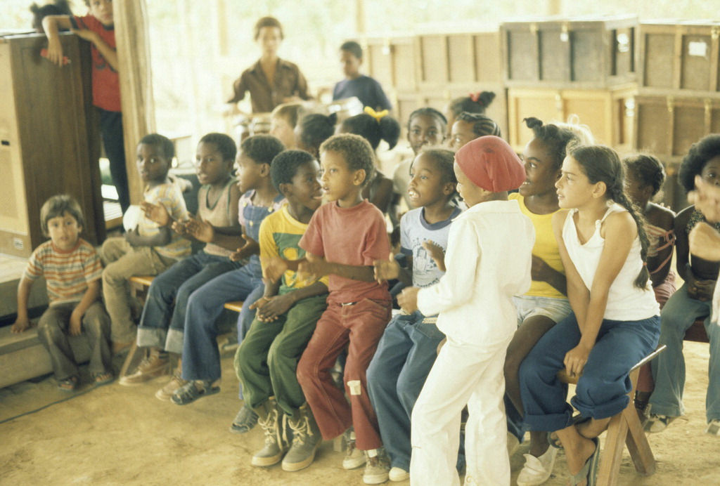 Children at the Peoples Temple settlement known as Jonestown.