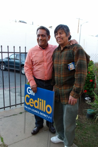 Gil Cedillo meets a voter