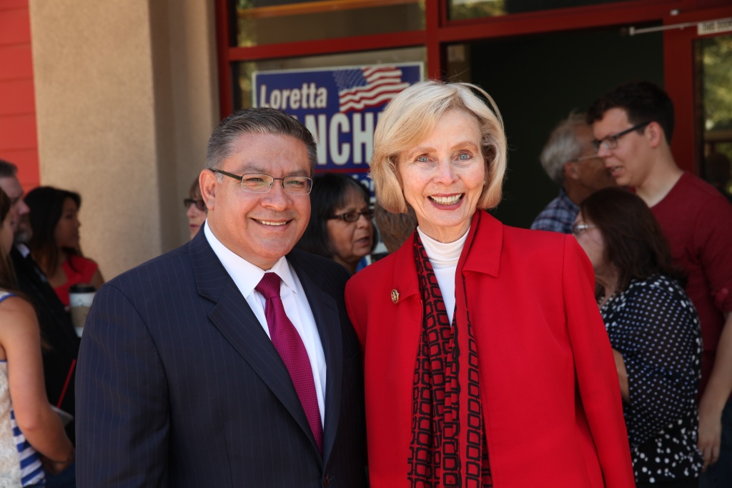 Rep.-elect Salud Carbajal with outgoing Rep. Lois Capps of California's 24th Congressional district. Carbajal is among five freshman U.S. Representatives from California headed to Congress.